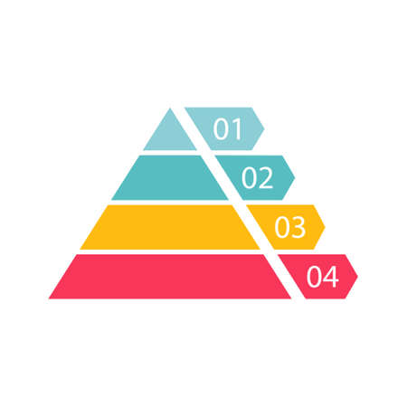 Pyramid infographic template with four colorful levels. Triangle data segments. Colour layout with 4 charts for banner, presentation and report. Vector business illustration isolated on white. Иллюстрация