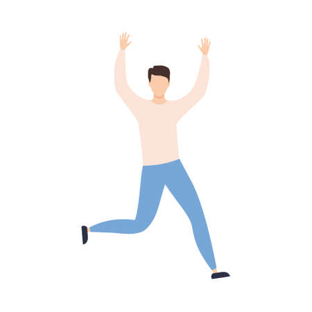 Happy man jumping. Cute boy dance. Success concept. Vector isolated on white
