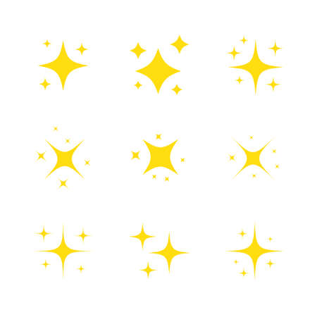 Yellow star sparkling icon set. Glittering stars light collection. Shiny flash decoration pictogram. Vector isolated on white