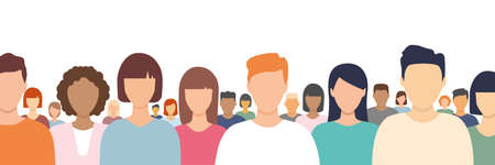 Multicultural people crowd. Diverse business men and women group. Flat multinational people characters standing together. Human diversity portrait concept. Vector illustration isolated on white.
