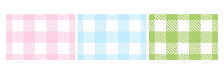 Colorful Lumberjack plaid seamless pattern set. Scottish cage wallpaper collection. Simple blue, pink and green vintage textile design. Tartan plaid concept. Abstract checkered vector background