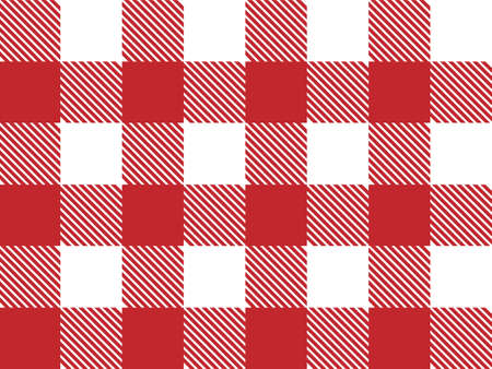 Red and white Lumberjack plaid seamless pattern. Scottish cage. Simple vintage textile design. Tartan plaid concept. Abstract light checkered background
