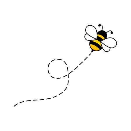 Bee fly character. Bee flying on a dotted route. Cartoon vector illustration. Isolated on white background.