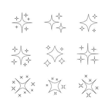 Star sparkling line icon set. Glittering stars light linear black collection. Vector isolated on white