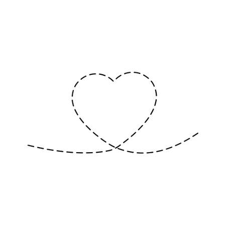Art line continuous heart dashed illustration. Love outline symbol. Valentine Day one line design. Cute romantic print pictogram. Vector isolated on white.