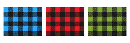 Colorful Lumberjack plaid seamless pattern set. Scottish cage wallpaper collection. Simple blue, red and green vintage textile design. Tartan plaid concept. Abstract checkered vector background