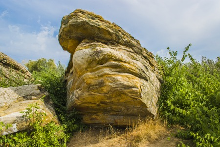 A huge stone against the sky and trees. Stone of a yellow shade Stock Photo
