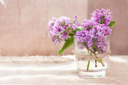 Purple and pink lilac flowers in a glass vase. Bouquet of lilac for mother or wife concept. Copy space.