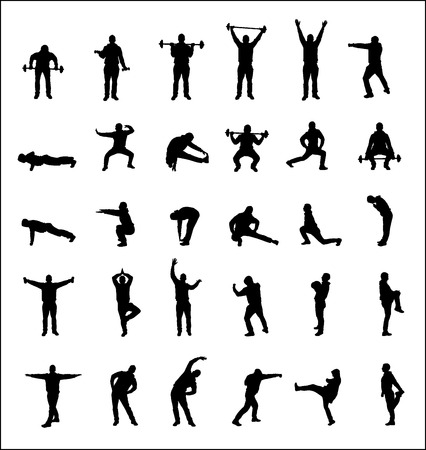Silhouettes of boys sports