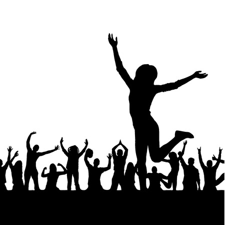 Banner with a girl on the background of the crowd Vector