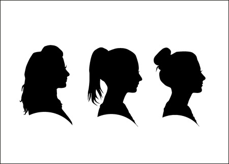 Silhouette of the girl in profile Çizim