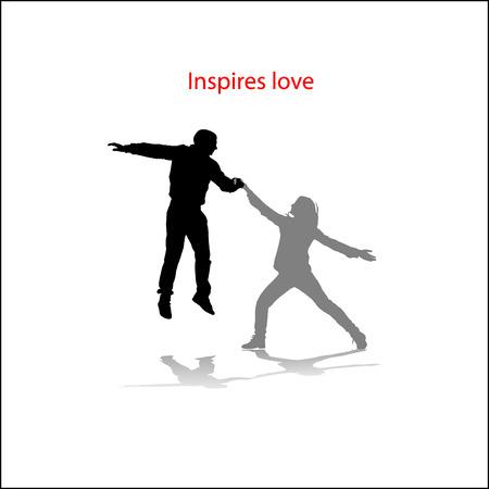 Romantic couples silhouettes Vector
