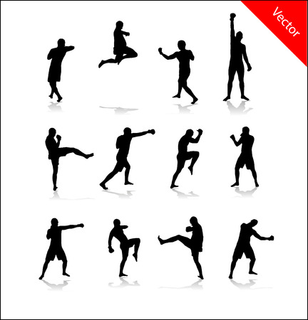 boxing match: Silhouette for boxing