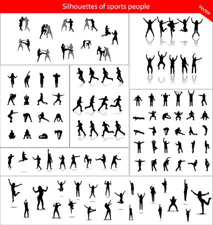 Large collection of silhouettes of sports people Vettoriali