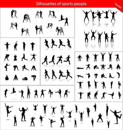 Grote verzameling van silhouetten van sporters