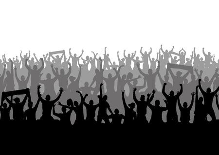 multitud de gente: Papel pintado inconsútil de los fans de campeonatos deportivos y conciertos de música.