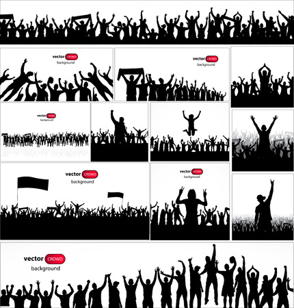 crowd of people: Posters for sports concerts and championships. Illustration
