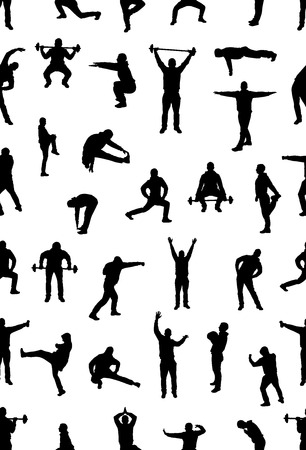 male silhouette: Seamless wallpaper from fans for sports championships. Illustration