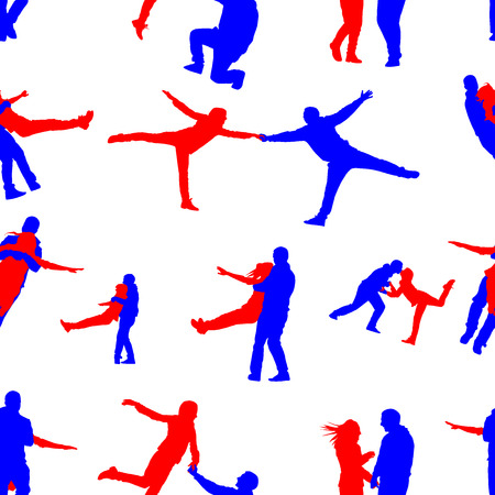 happy people: Seamless pattern with silhouettes of happy people