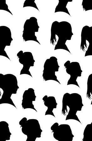 siluetas mujeres: Patrón sin fisuras con la silueta de la chica en el perfil