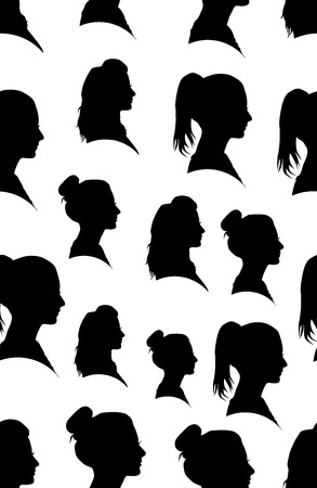 Seamless pattern with silhouette of the girl in profile
