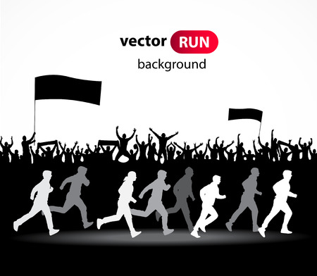 Running vector silhouettes