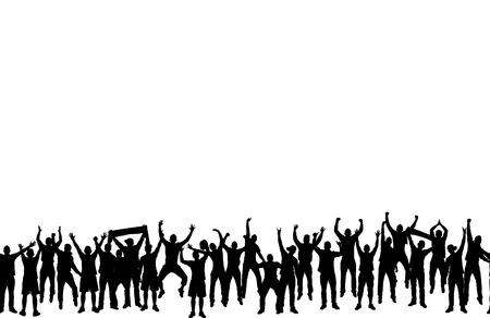 gente saltando: Papel pintado inconsútil de los fans de campeonatos deportivos y conciertos de música.
