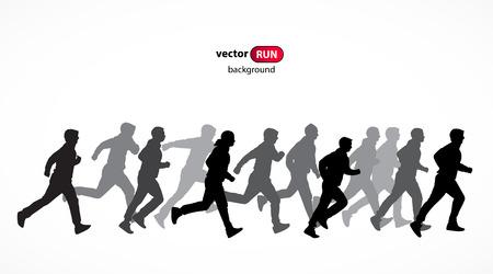 human figure: Correr siluetas vector Vectores