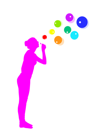 young girl: Young girl blowing soap bubbles