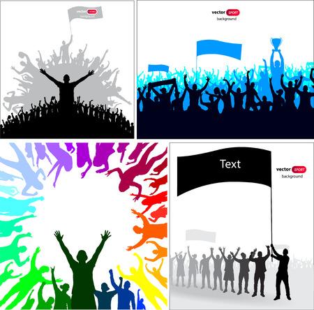 campeonato de futbol: Los carteles con aficionados animando