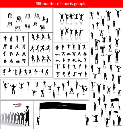 sporting event: Silhouettes of sports people. And happy fans