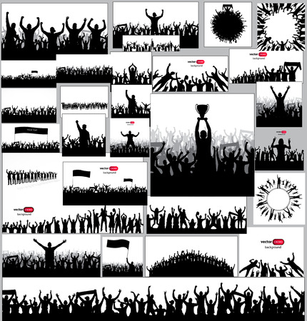 crowd people: Silhouettes and posters with cheering people