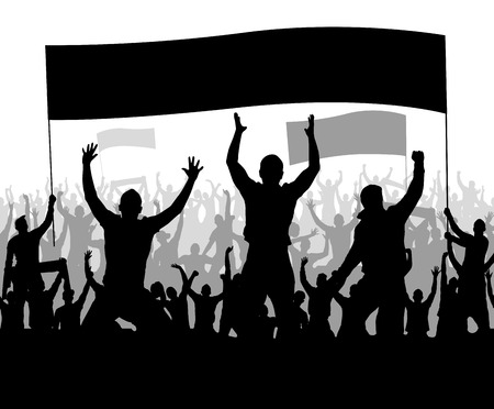 cheering people: Banner with cheering people