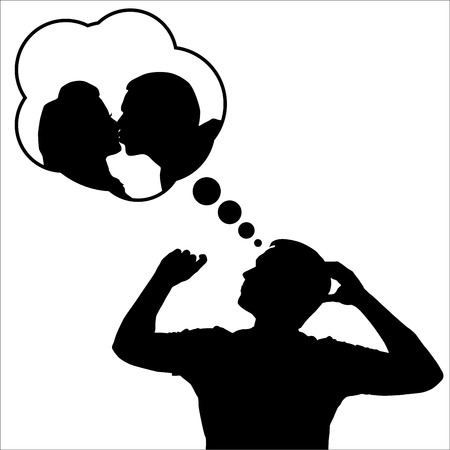 girls kissing: Silhouette of a Man dreaming