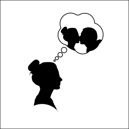 girls kissing: Silhouette of a woman dreaming