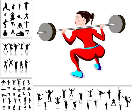 model kit: Sport happy people. Set of advertising silhouettes Illustration
