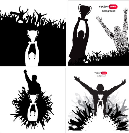 sports winner: Posters with cheering people