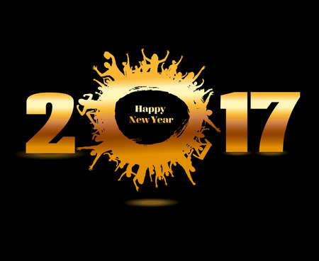Happy New Year 2017 background from the champion and cheering people Ilustração