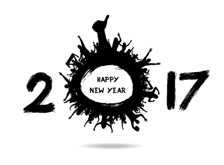 Happy New Year 2017 from the cheering people