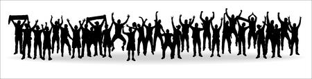 Background with crowd people. Ilustração