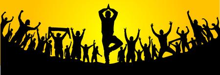 Yoga pose and fans Ilustração