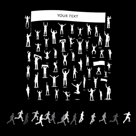 Silhouettes of people cheering and runners