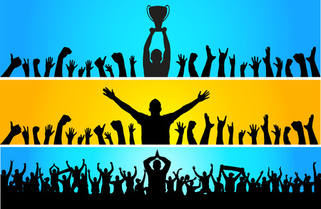 Background with cup champion and cheering people Illustration