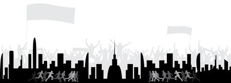 街のファンを背景に人々を走らせる  イラスト・ベクター素材