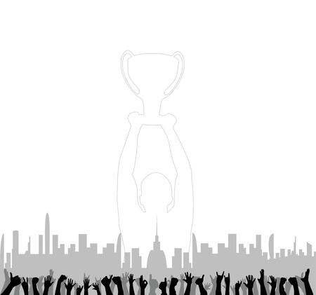 Fans cheering hands and background buildings Illusztráció