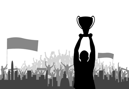 Champ with cheering crowd, silhouette background vector illustration Banco de Imagens - 91268531