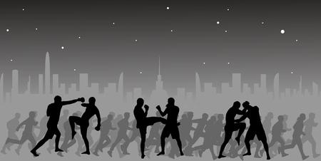 シルエットのスポーツの人々 と都市