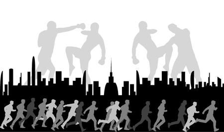 シルエットはスポーツの人々をスポーツします。ポスター。  イラスト・ベクター素材
