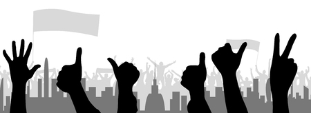 Fans cheering hands and background buildings Ilustração