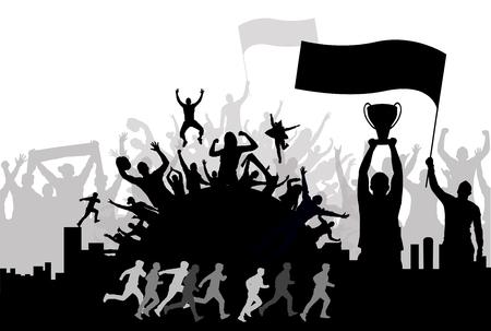 応援群衆とチャンピオン、シルエット背景ベクトルイラスト  イラスト・ベクター素材